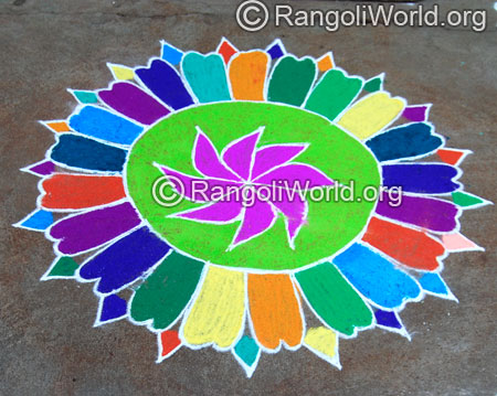 Flower petals freehand rangoli aug2014