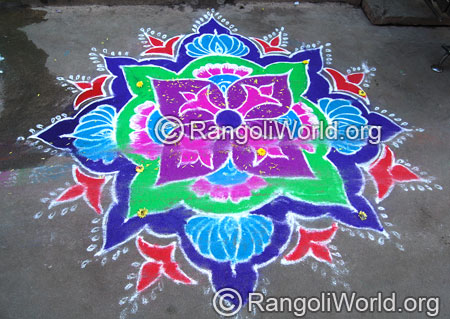 Freehand rangoli with flowers aug2014