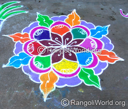 Leaf freehand rangoli aug2014