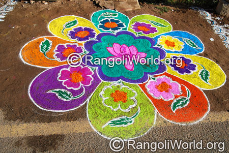 Lotus and flowers freehand rangoli aug2014