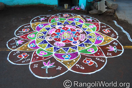 Lotus freehand rangoli aug2014