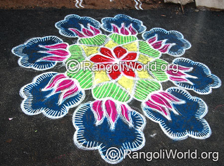 Lotus freehand traditional rangoli aug2014
