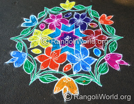 Lotus star freehand rangoli aug2014