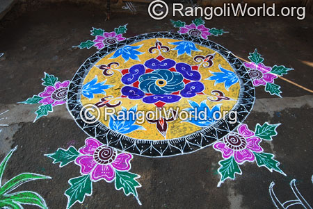 Pink flower freehand rangoli aug2014