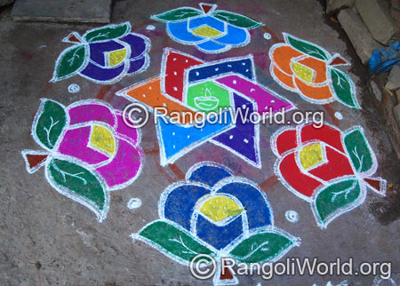 Rose star kolam aug2014