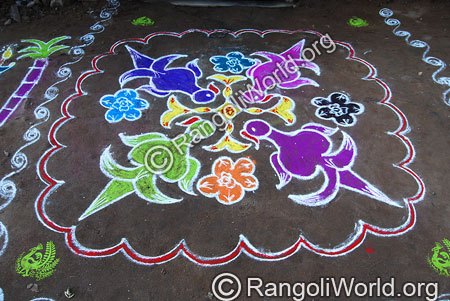 Simple parrot kolam aug2014