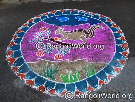 Squirrel rangoli aug2014