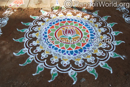 Traditional lotus freehand rangoli aug2014