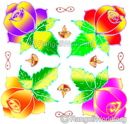 Multi colored easy rose flower kolam may1 2015