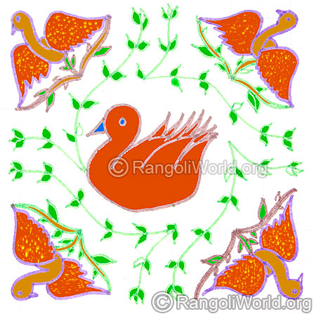 Seasonal birds on tree and swan kolam may1 2015