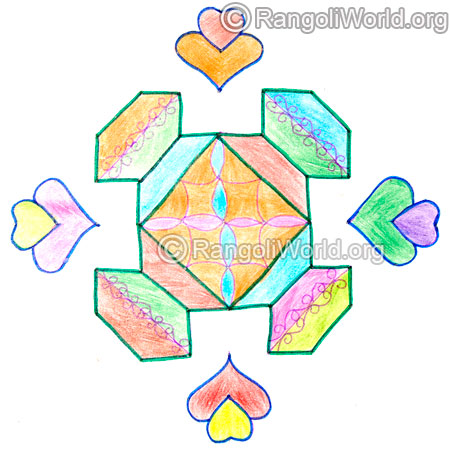 Simple pongal flower kolam may5 2015