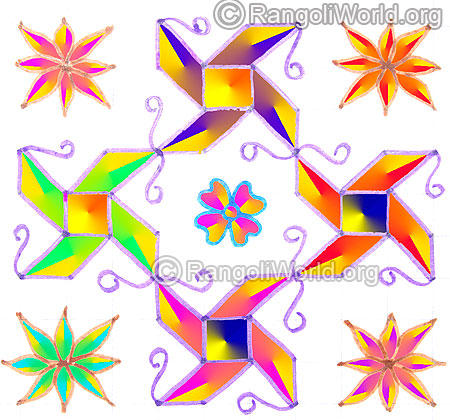 Simple swastik flower pooja kolam may1 2015