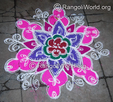 Double stroke festival flower freehand rangoli april14 2015