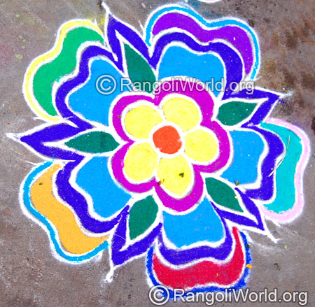 Easy flower leaf freehand rangoli april14 2015