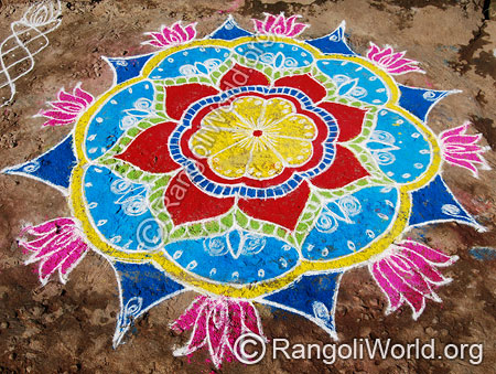 Easy lotus freehand rangoli april14 2015