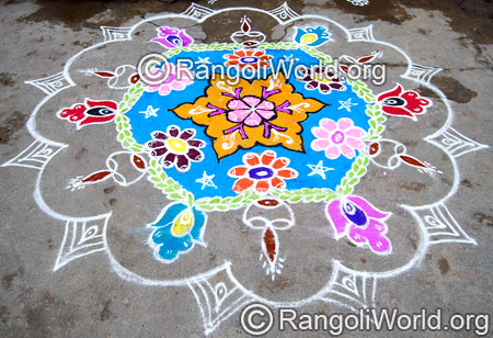 Festival deepam flower freehand rangoli april14 2015