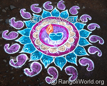 Festival deepam freehand rangoli april14 2015