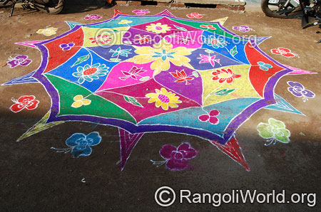 Festival flower freehand rangoli april14 2015