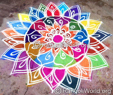 Festival pooja freehand rangoli april14 2015