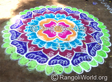 Flower festival freehand rangoli april 12 2015