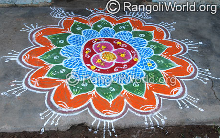 Flower freehand rangoli april14 2015