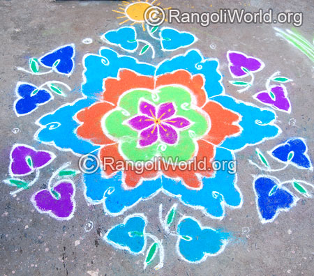 Flower street kolam rangoli april14 2015