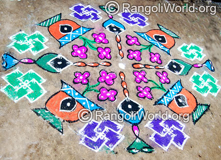 Flower swastik rangoli kolam april14 2015