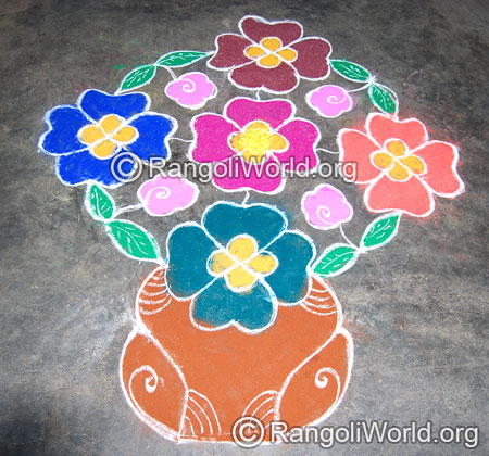 Flowers and pot kolam rangoli april14 2015