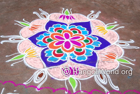 Lotus flower festival freehand rangoli april14 2015
