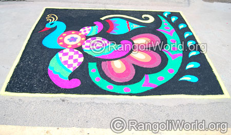 Peacock carpet freehand rangoli april14 2015