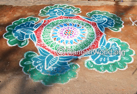 Peacock pooja freehand rangoli april14 2015