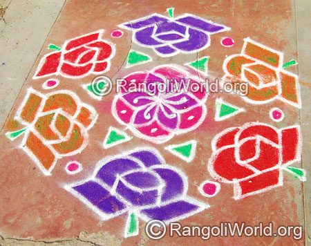 Rose flower street kolam april14 2015