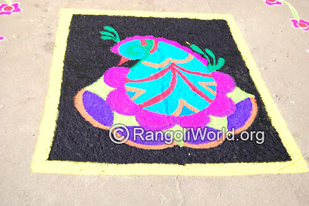 Simple bird carpet freehand rangoli april14 2015