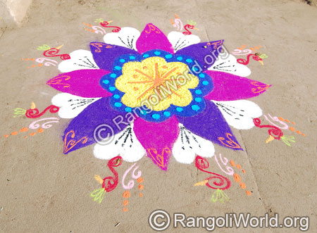 Simple freehand festival rangoli april14 2015