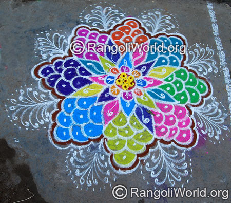 Simple grapes freehand rangoli april14 2015