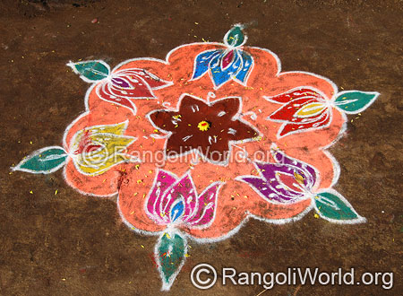 Simple lotus freehand rangoli april13 2015