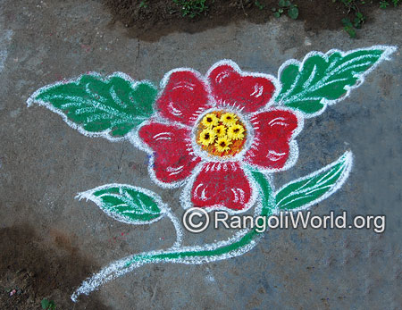 Single flower freehand rangoli april14 2015