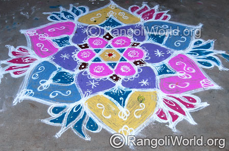 Star lotus freehand rangoli april14 2015