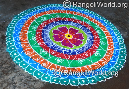 Temple festival freehand rangoli april14 2015