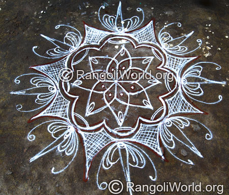 Temple freehand rangoli april14 2015
