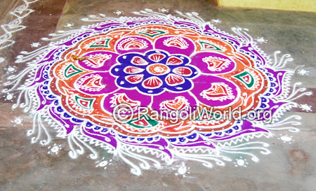 Traditional festival freehand rangoli april14 2015