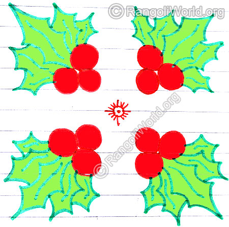Christmas fruits kolam