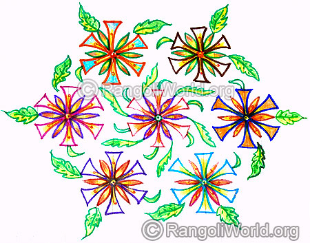 Flowers with leaf kolam design dec25
