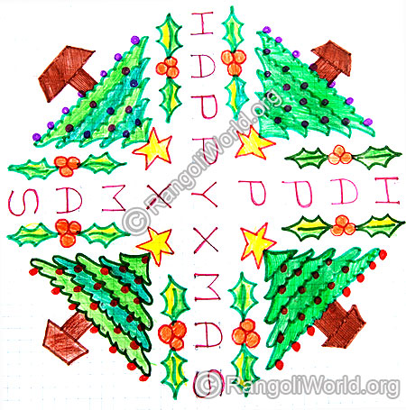 Happy Christmas Kolam design