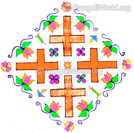 Holy cross with candles kolam design dec25