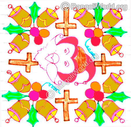 Santa claus, holy cross and jingle bell kolam