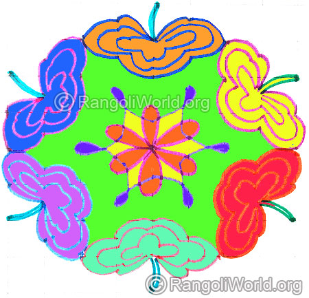 9 to 5 dotted interlaced pattern flower kolam