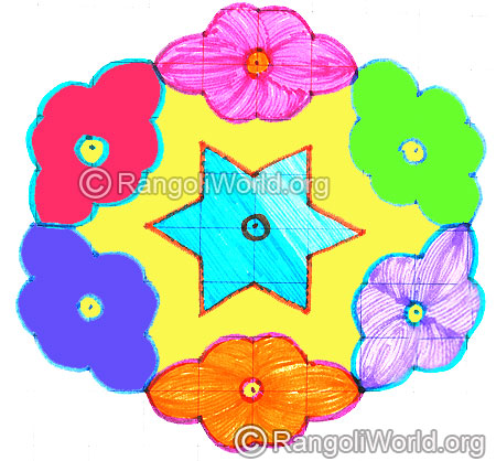 9 pulli star & flowers kolam april24 2015