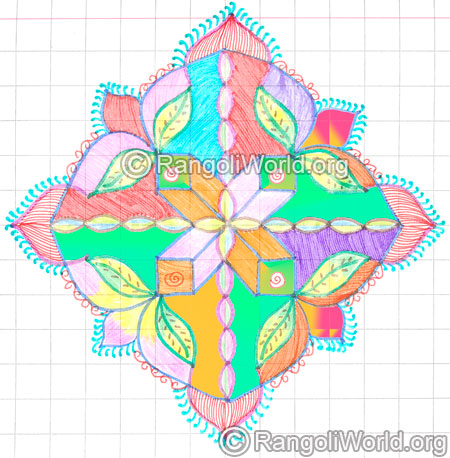 Colorful dotted pattern rangoli kolam may8 2015