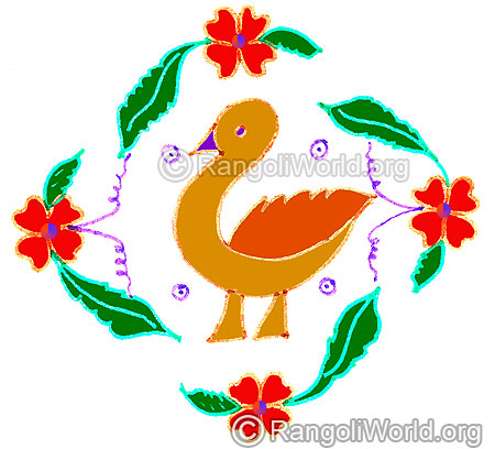 Duck and flowers kolam april24 2015